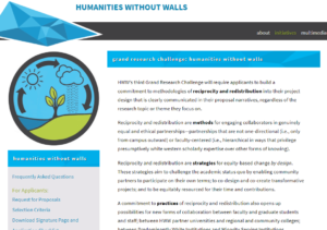 Screen capture showing the Humanities Without Walls grand research challenge.
